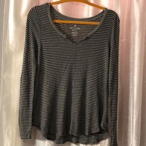American Eagle gray / black stripe waffle knit
